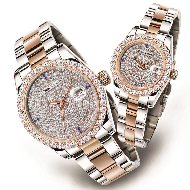 Claw-setting Men's Watch Women's Watch Fine Full Crystal Clock Stainless Steel Bracelet Luxury Lovers' Gift Royal Crown