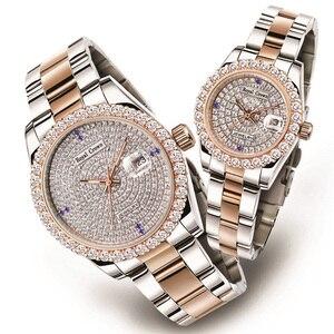 Montre pour hommes à griffe montre pour femme Fine horloge en cristal pleine Bracelet en acier inoxydable cadeau amoureux de luxe couronne royale