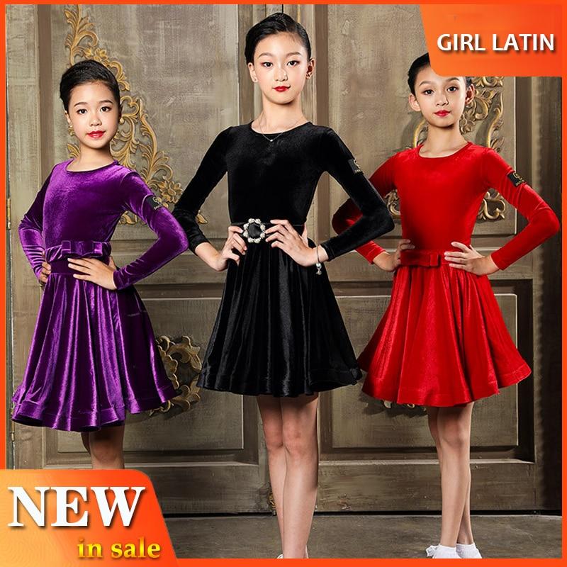 Girls Latin Dance Dress Children'S Autumn Long Sleeved Dress Winter Performance Regulations Exam Kids Dress For Girls Wear L2906