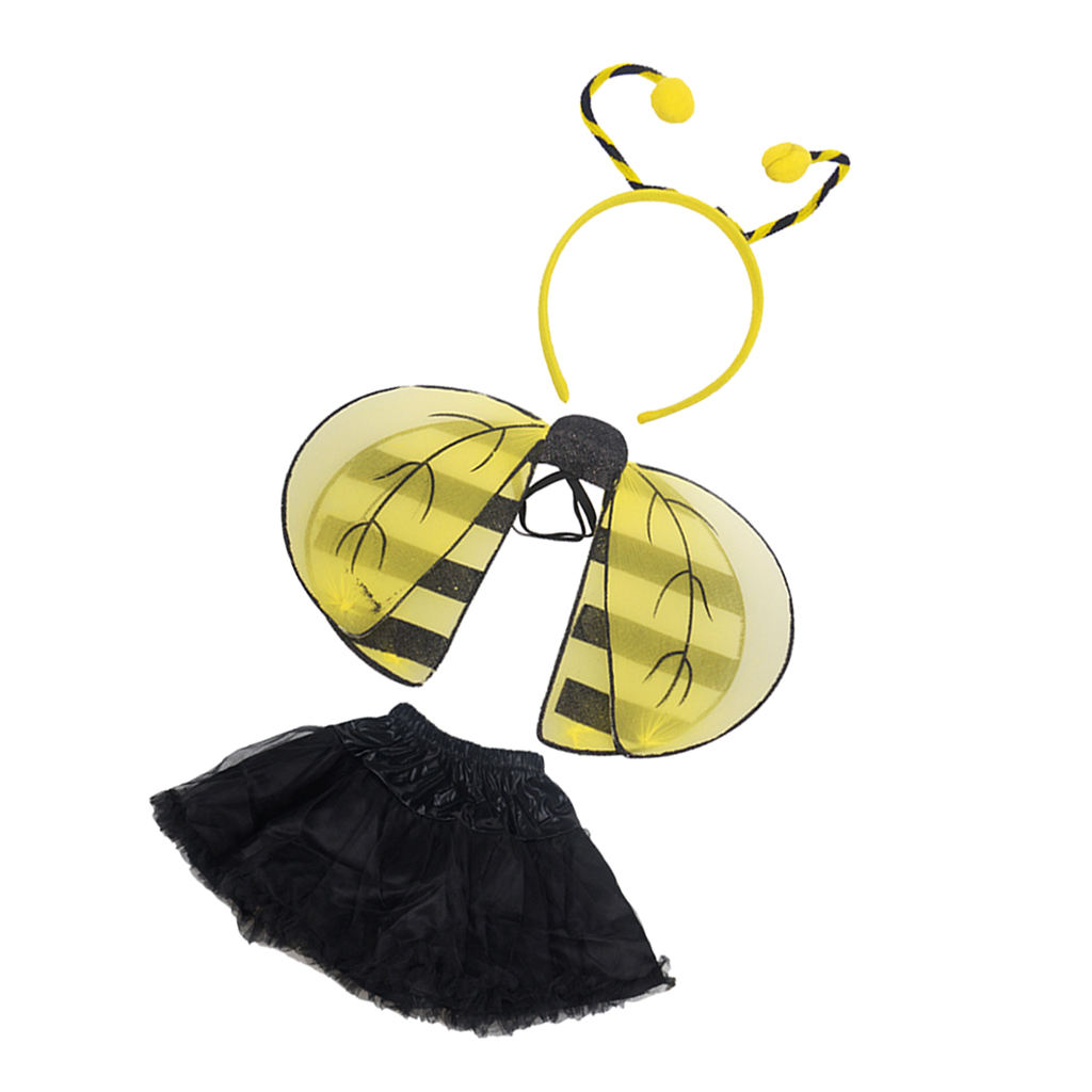Bumble Bee Costume Honey Bee Headband Wings Skirt Toddler Baby Girl Fancy Dress Outfit