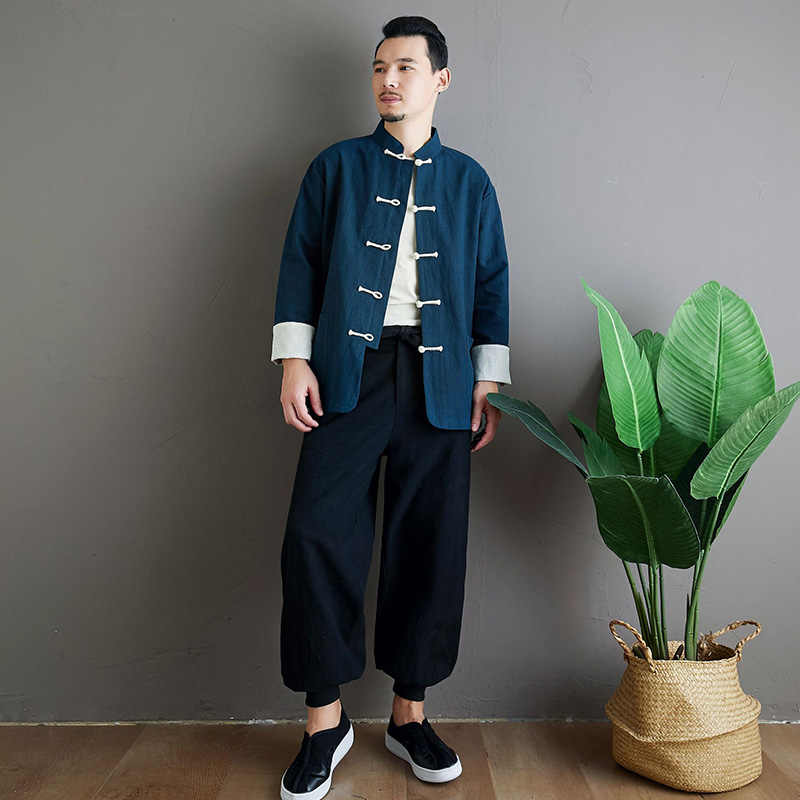 Lzjn 2020 春長袖男性唐スーツブラウス服亜麻 blusas 手作り中国ノットボタン黒リネンシャツ