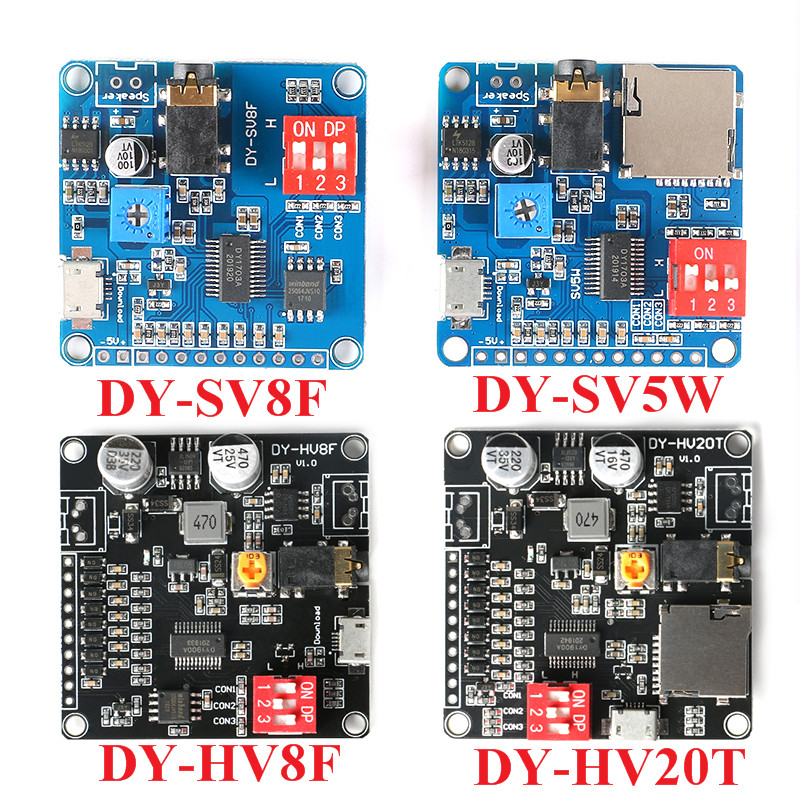 Voice Playback Module MP3 Music Player UART I/O Trigger Amplifier Board DY-SV17F DY-SV5W DY-SV8F DY-HV20T DY-HV8F For Arduino image