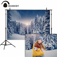Allenjoy photography backdrop snow forest mountain christmas photographic backgrounds photo studio professional photophone