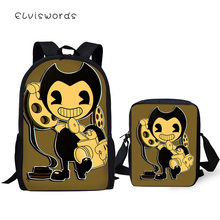 ELVISWORDS Fashion 2PC Set Backpacks Bendy and the Ink Machine Pattern School Book Bags Students Backpack/Flaps Bag/Pen