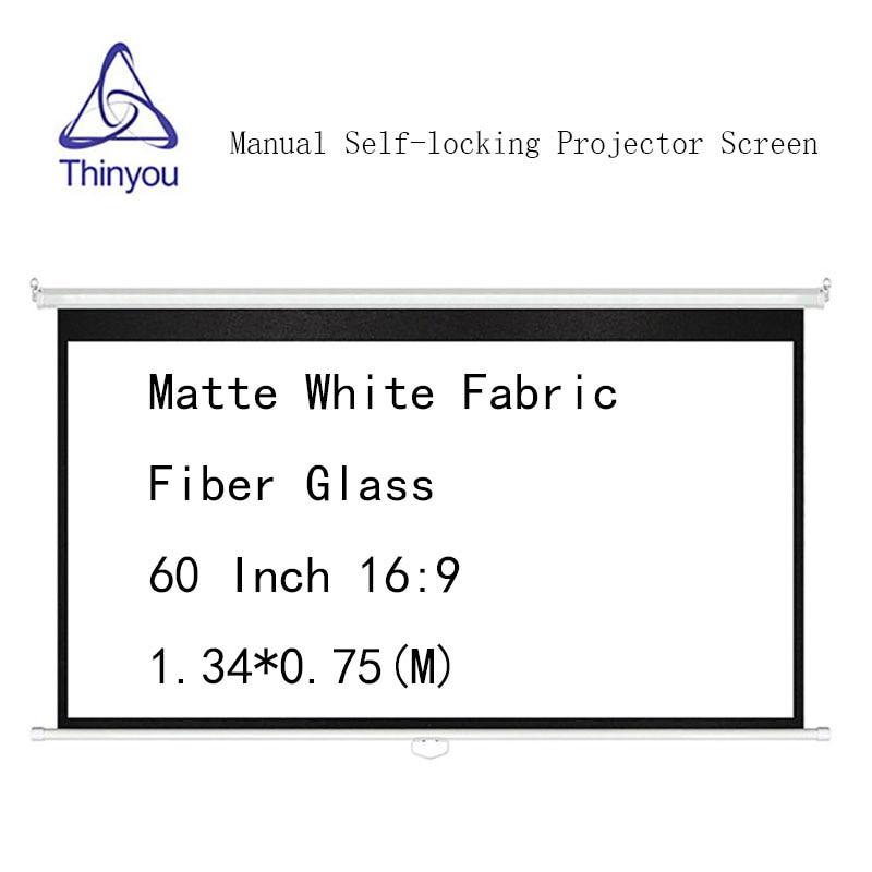 Écran de projecteur à verrouillage automatique manuel Thinyou 60 pouces 16:9 Fiber de verre en tissu blanc mat pour projecteur HD