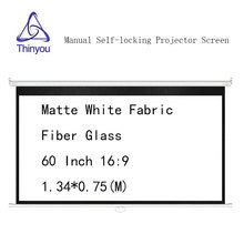Thinyou Manual self-locking Projector Screen 60inch 16:9 Matte White Fabric Fiber Glass for HD projector Pull Down