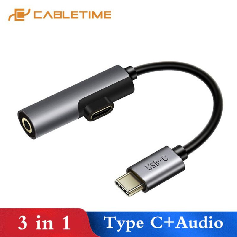 CABLETIME USB C To 3.5mm Aux Female USB Cable Type C To 3.5mm Aux 2 In 1 USB C Headphone Adapter For Huawei P20 Samsung Xiaomi