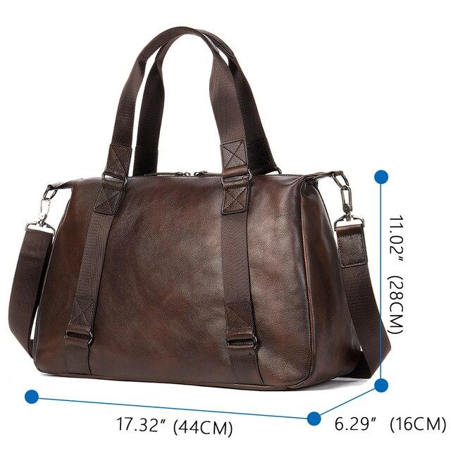 "MVA Genuine Leather Men Duffle Bag Luggage Travel Bag Men Vintage Large Capacity Messenger Weekender Bags For 15.6"" Laptop  1149 2"