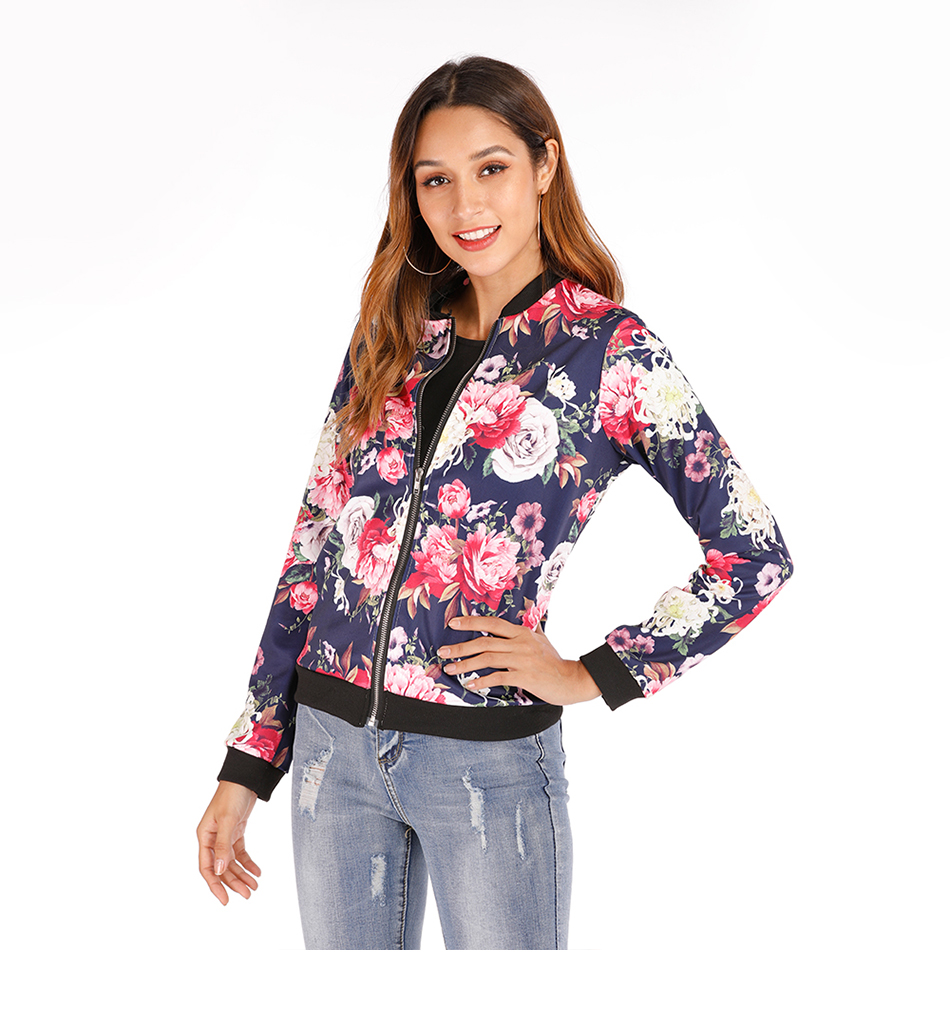Print Bomber Jacket Women Flowers Zipper Up Retro Coat Spring Summer Long Sleeve Basic Plus Size Short Biker 39