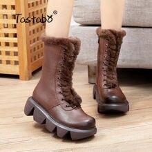 Зимние ботинки коричневые женские на высокой платформе модные