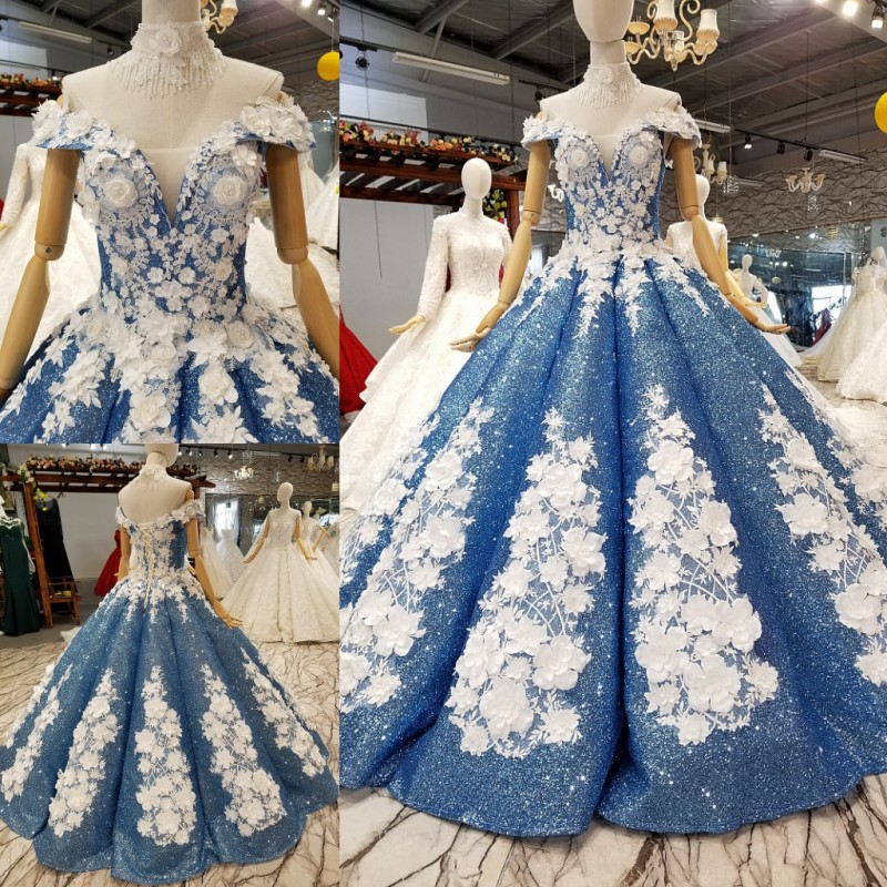 Real Photos White Lace Beading Shinny Blue Dresses Evening Party Ball Gowns Off Shoulder White Lace Luxury