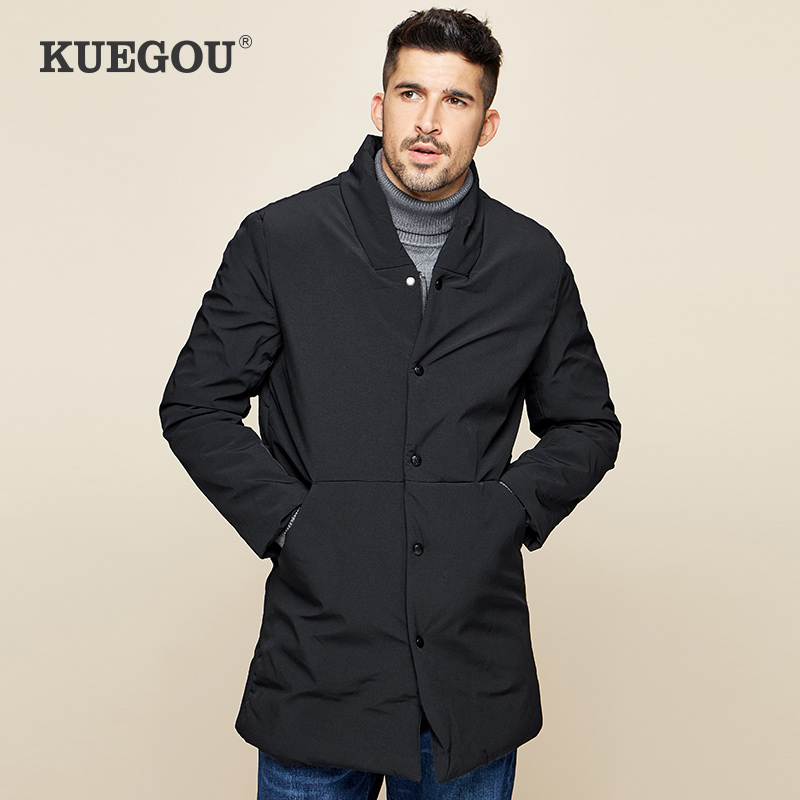 KUEGOU Men's Fashion Warm Winter Coat  Medium Length  Cotton-padded Clothes  Cultivate One's Morality Cotton-padded Jacket  0281