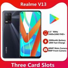 Realme – téléphone portable V13 5G, Android 11, 8 go de RAM, 128 go 256 go de ROM, dimension 700 Octa Core, écran 6.5 pouces 90HZ, caméra 48mp, Google play