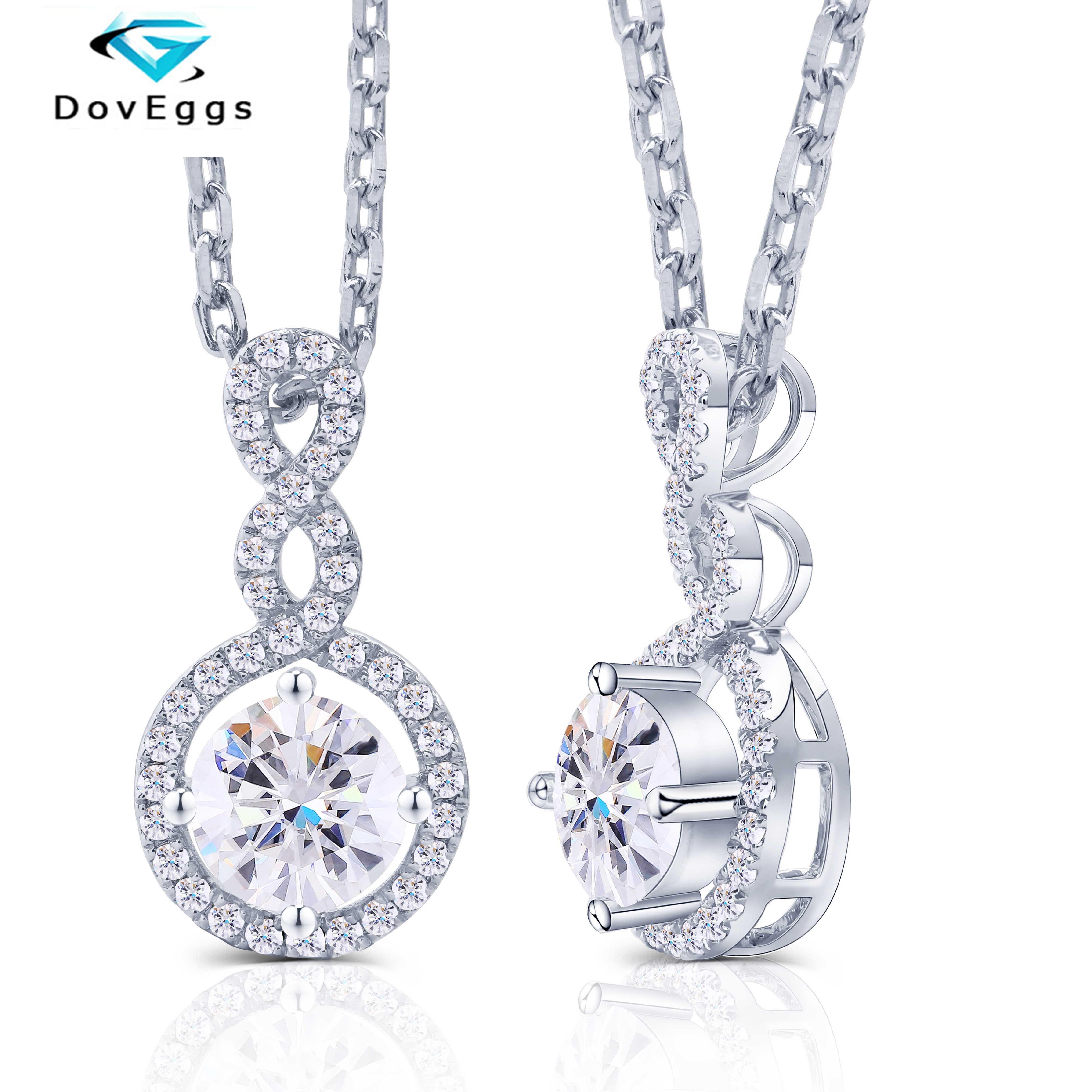 DovEggs Solid 14K 585 White Gold Center 1ct Carat 6.5mm F Color Moissanite Diamond Pendant Necklace For Women With Silver Chain