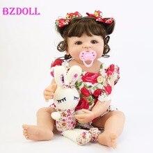 55Cm Full Siliconen Body Reborn Baby Pop Speelgoed Voor Meisje Vinyl Pasgeboren Prinses Baby Bebe Baden Begeleidende Speelgoed Verjaardag gift