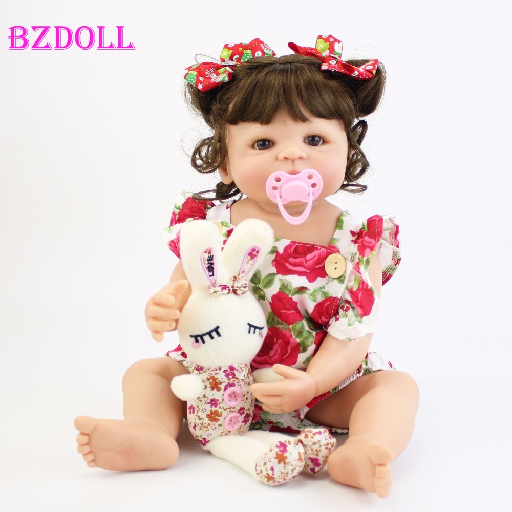 55cm Full Silicone Body Reborn Baby Doll Toy For Girl Vinyl Newborn Princess Babies Bebe Bathe Accompanying Toy Birthday Gift(China)