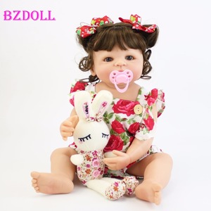 Image 1 - 55cm Full Silicone Body Reborn Baby Doll Toy For Girl Vinyl Newborn Princess Babies Bebe Bathe Accompanying Toy Birthday Gift