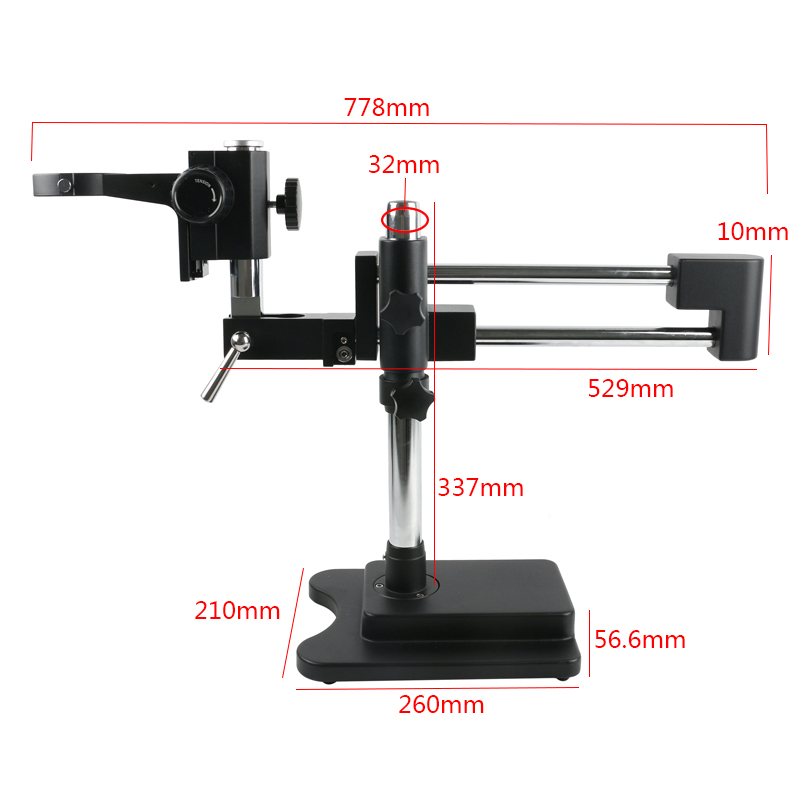 Stereo Zoom Microscope Double Arm Rotating Boom Stand With A1 Focus Adjustment Arm Microscope Head Holder Ring