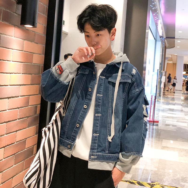 Hong Kong Style 2018 Mock Two-Piece Hooded Coat Cowboy Jacket Loose Tops Men's Large Zipper Pack