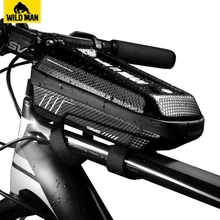 WILD MAN Bicycle Top Tube Bag Rainproof Waterproof Mountain Bike Mtb Front 6.2inch Mobile Phone Case Cycling Accessories