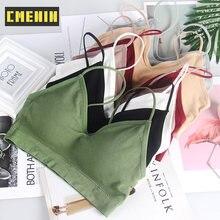CMENIN-Top de tubo sin tirantes para mujer, ropa interior Sexy para mujer, ropa interior femenina de algodón en 7 colores sólidos, B0076