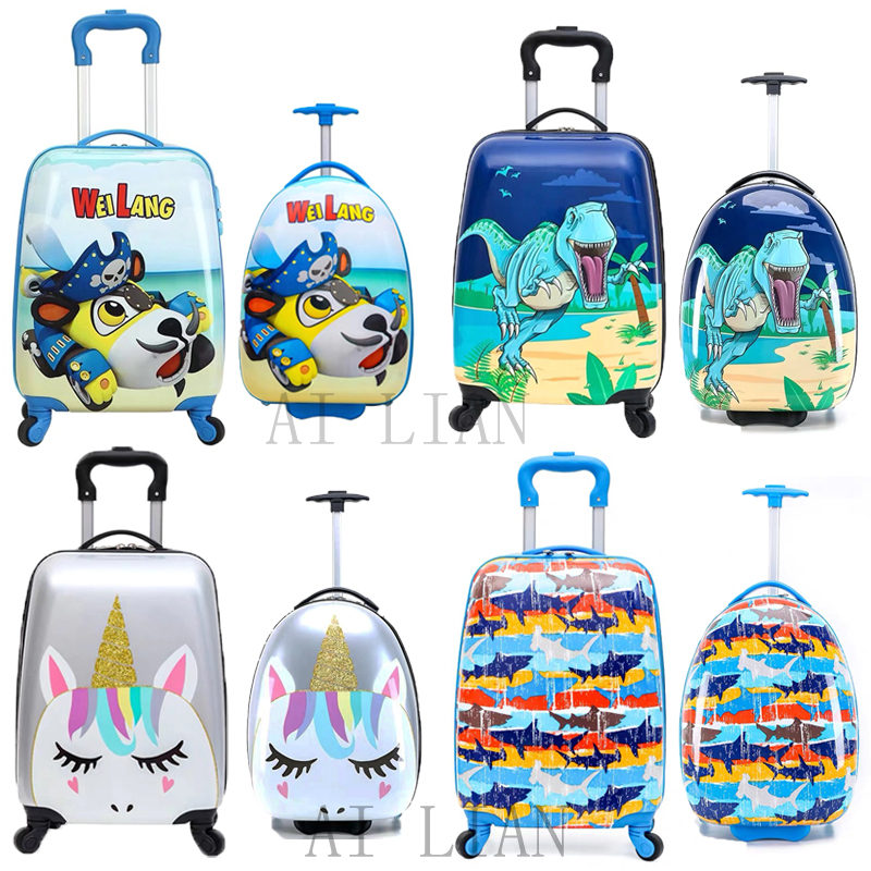 New kids rolling luggage Cartoon animal trolley luggage bag travel carry on suitcase spinner wheels children Cabin Luggage case