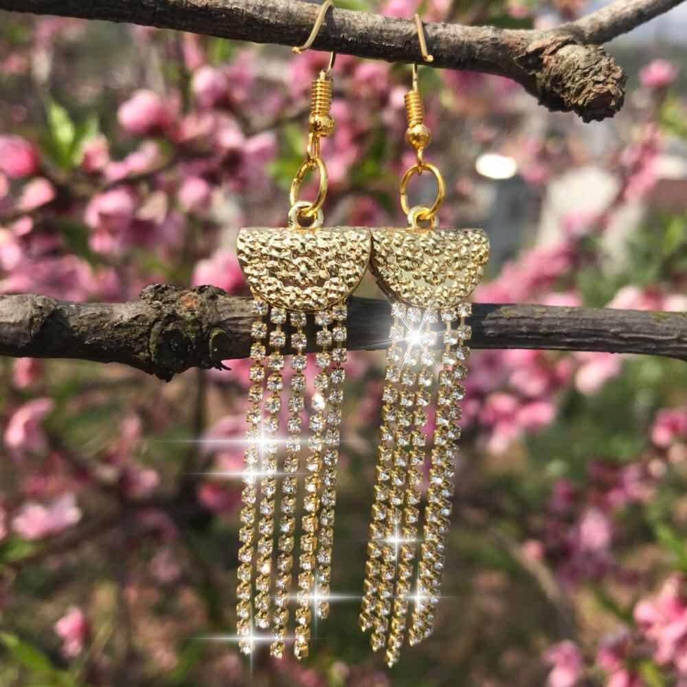 ZAOLAIXI Long Tassel Drop Earrings For Women Gold Crystal Rhinestone Big Hanging Dangle Earrings Bride Wedding Jewelry