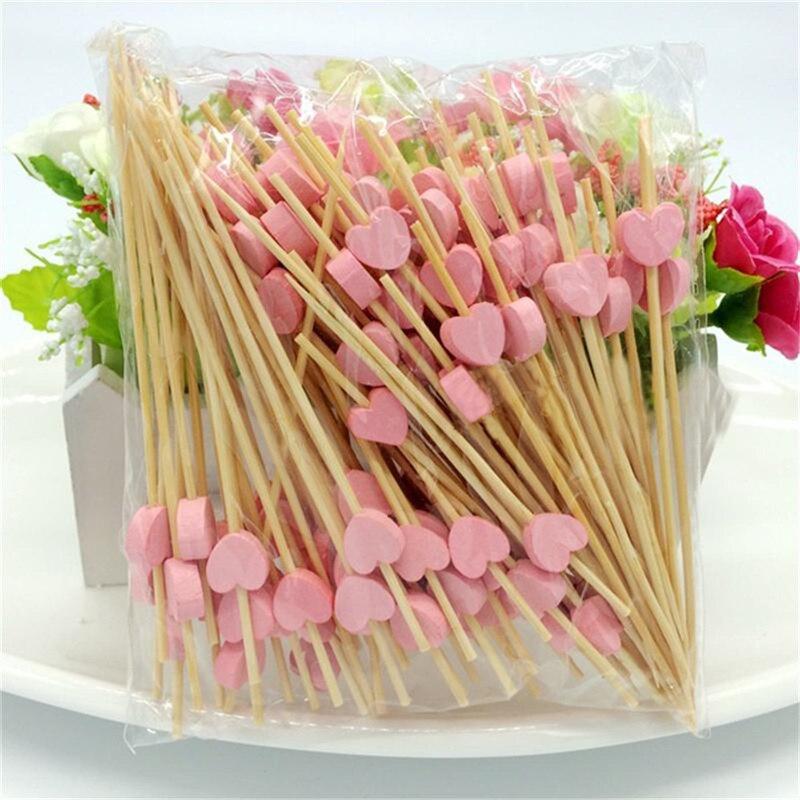 100pcs12cm kalp bambu yiyecek kürdanları büfe kek meyve çatalı parti kek tatlı salata sebze çubukları kokteyl kürdan şiş