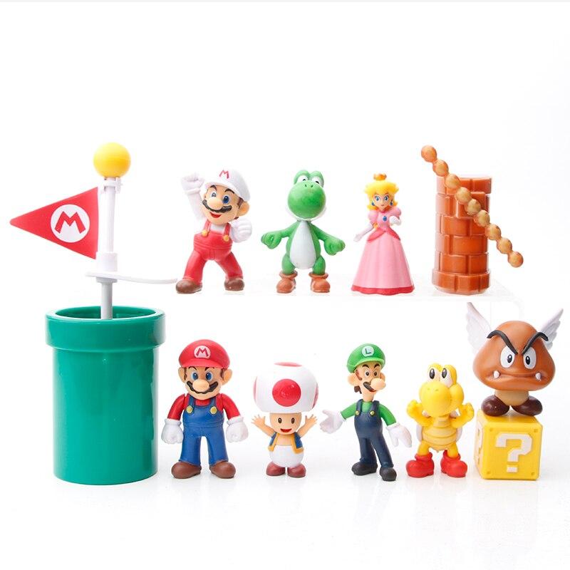 Супер Марио 12 шт. mario bros игрушка фигурку украшения торта украшения аксессуары Подарок на день рождения ребенку игрушка кукольный орнамент