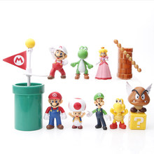 Super mario 12 pçs mario bros ação brinquedo figura enfeites bolo decoração acessórios do presente de aniversário das crianças brinquedo bonecas ornamento