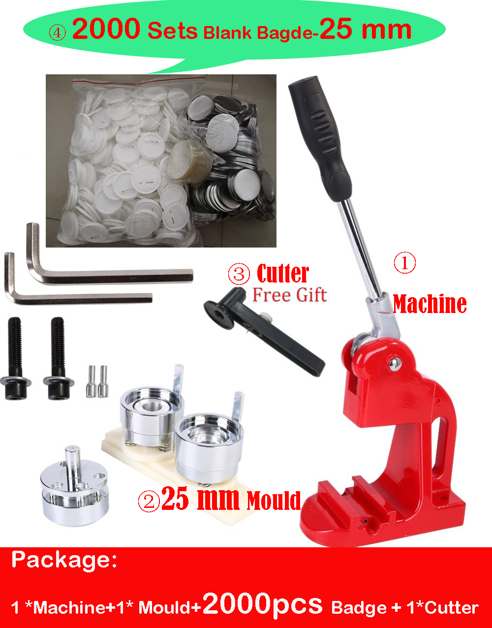 Ready Stock Button Badge maker machine with 25mm button badge mold and 2000sets button badge raw material