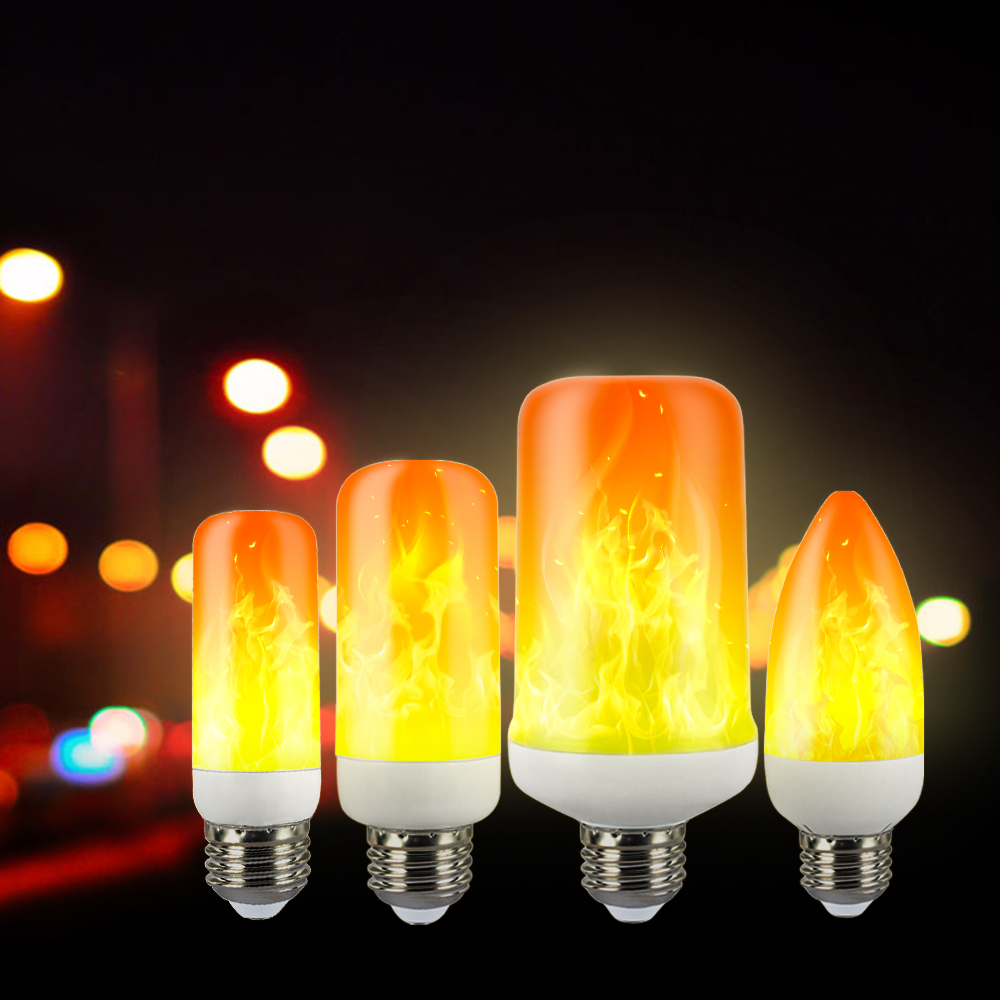 IngHoo LED Flame Bulb E27 E16 E14 E12 B22 Bulb Dynamic Flashing Effect Lamp Interior Decoration Light Daily Lighting Night Lamp