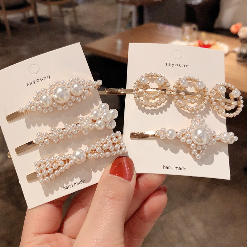 1PC Fashion Women Full Pearl Hair Clips Snap Barrette Stick Hairpins Hair Styling Tools Accessories Hairgrip Headdress Gift