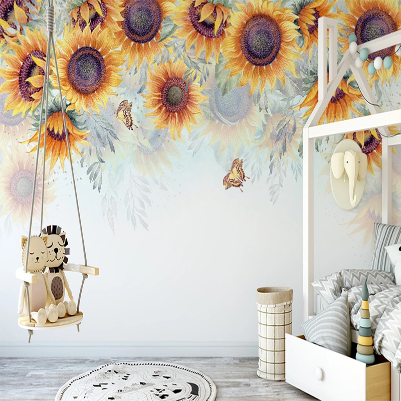 Custom Hand Painted Sunflower Pastoral Flower Mural Non-woven Fabric 3D Embossed Wallpaper For Children Room Bedroom Decoration