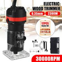 220V 2300W Holzbearbeitung Elektrische Trimmer Holz Fräsen Gravur Stoßen Trimmen Maschine Hand Carving Router EU Stecker 6,35mm