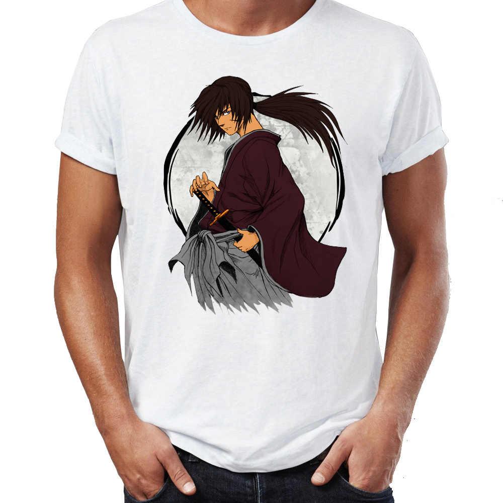 Мужские футболки в стиле хип-хоп Rurouni Kenshin Manga, аниме Artsy, потрясающие Топы И Футболки с принтом уличных парней, Swag, 100% хлопок, Camiseta