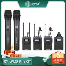 BOYA BY WM8 Pro K1/K2 mikrofon pojemnościowy mikrofon bezprzewodowy System Audio rejestrator wideo odbiornik do aparatu Canon Nikon Sony