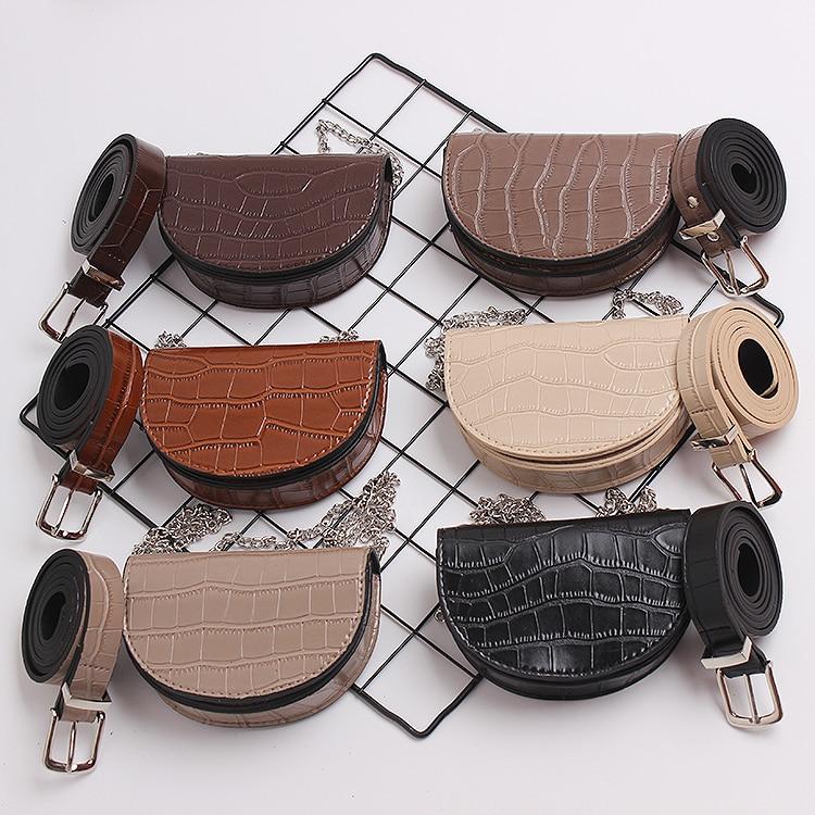 Mini PU Saddle Bag Fashion Leather Alligator Pattern Detachable Waist Belt With Bag Ladies Street Chain Crossbody Shoulder Bag