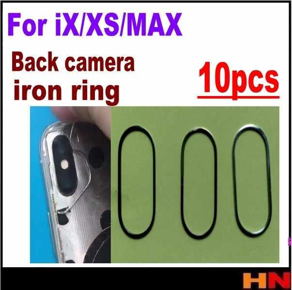 10 Uds. Al por mayor para iPhone XS X XS MAX cámara trasera de alta calidad anillo de hierro cubierta de bisel piezas de repuesto