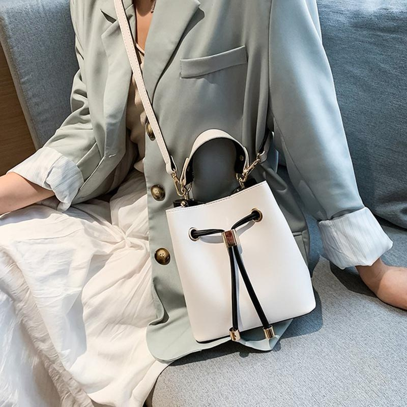 Fashion Young Female Bucket Shoulder Bag Rope Woman Simple PU Leather Crossbody Bag High Quality Ladies Daily Handbag White in Top Handle Bags from Luggage Bags