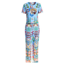 Baogarret New Fashion Designer Two Piece Set Womens Short Sleeve Beading Animal Floral Print Tops + Pencil Pants Runway
