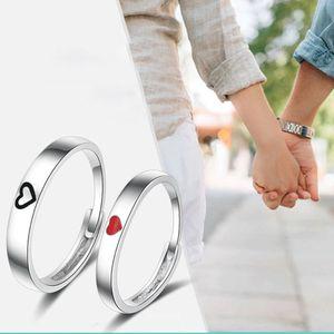 1 Pc/2 Pcs Heart-shaped Couple Ring Fashion Men Women Ring Engagement Wedding Jewelry Creative Tanabata Valentine's Day Gift
