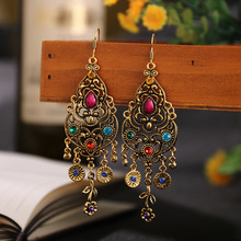 Indian Jhumka 2020 Women Vintage Alloy Tassel Bollywood Hollow Out Flower Carved Rhinestones Dangle Earrings Boho Ethnic Jewelry