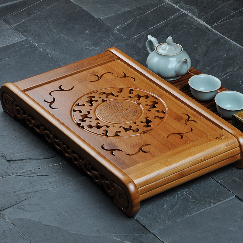 [GRANDNESS] Kong Ming Solar Circle Bamboo Gongfu Tea Serving Tray 49*29cm Bamboo Tea Table Chinese Tea Set Bamboo Water Tea Tray