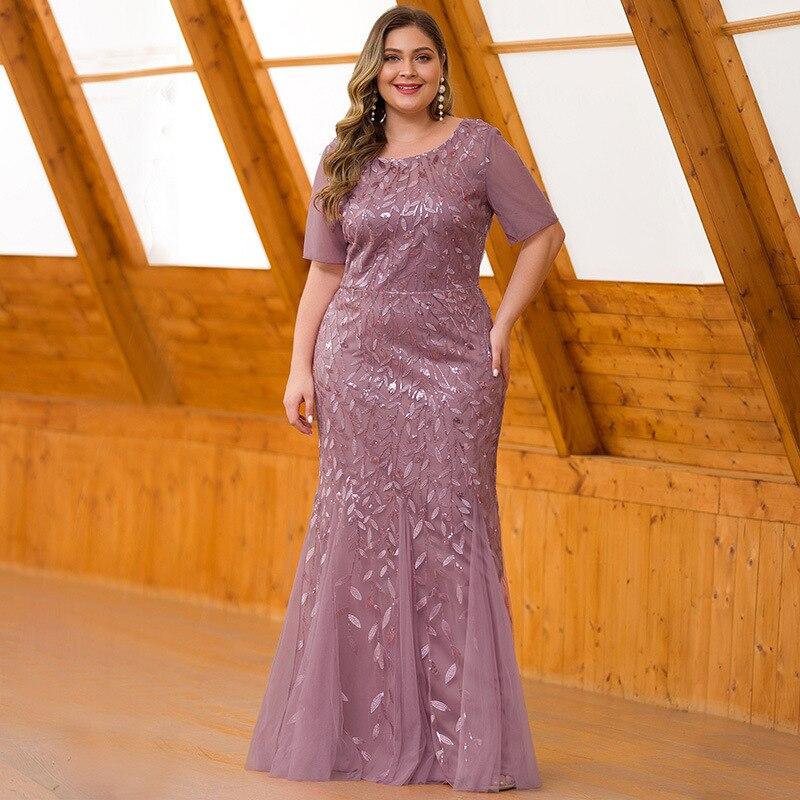 Queen Abby Вечерние платья Русалка с блестками Кружева Аппликации Элегантное Длинное платье русалки платье вечерние платья размера плюс - Цвет: Pink
