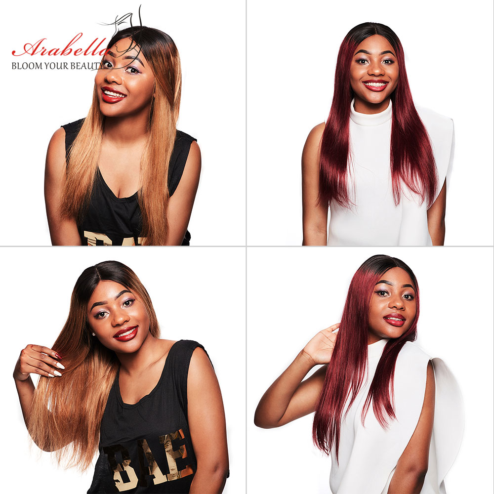 Arabella 1B/27 Straight Hair Lace Front Wig With Baby Hair Pre Plucked  Hair 13*4 Lace Front Wig Colored  Lace Wig 3