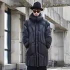 Мужское зимнее черное длинное пуховое пальто с капюшоном, куртка, Толстая теплая парка, мужская Японская уличная одежда, готическое свободн...
