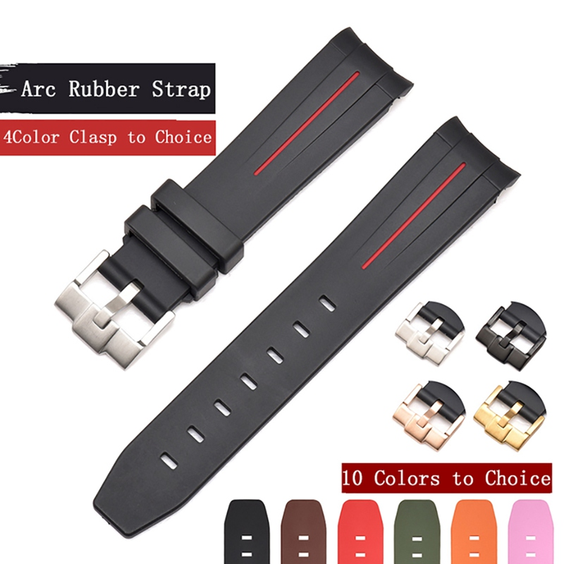 Z Watchband 20mm Natural Rubber Silicone Watch Strap 21mm Strap Pin Buckled Earc Mouth Strap Replacement For Rolex Submariner *