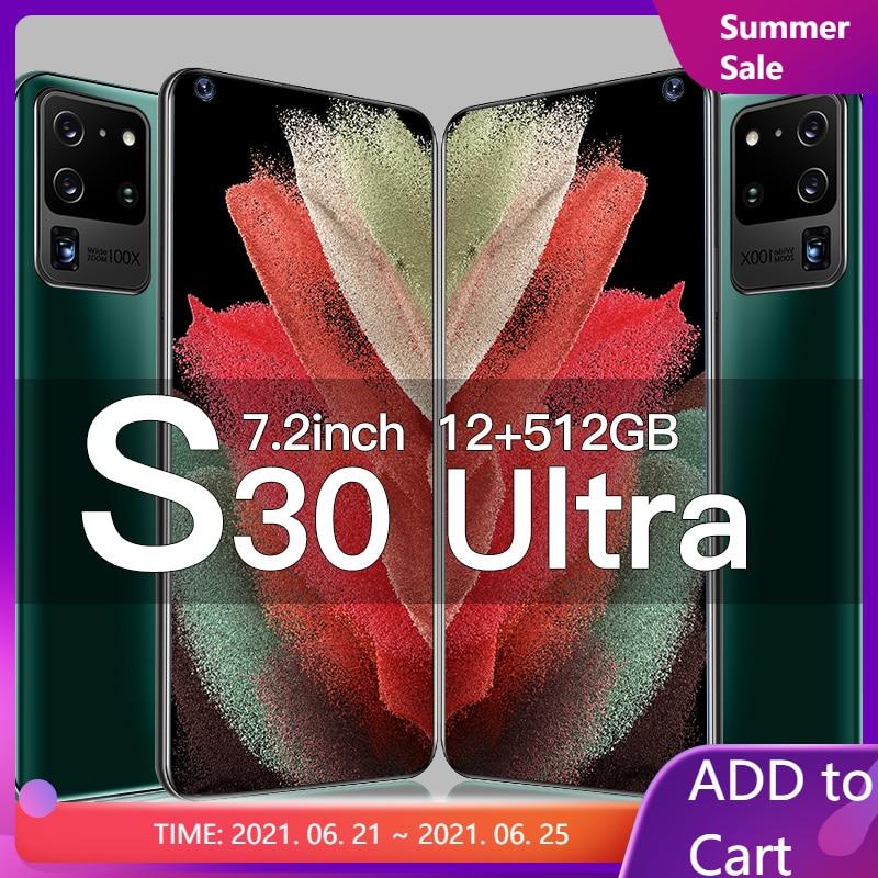 Galay S30 ультра смартфон 7,2 дюйма 4G 5G 16 ГБ + 32 ГБ, Мп сети Octa Core 12 ГБ 512 ГБ глобальная версия Andorid 10,0 разблокировки мобильных телефонов