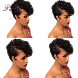 Image 5 - 13x6 브라질 짧은 밥 레이스 프론트 가발 pre plucked pixie cut 밥 사이드 파트 여성용 인간의 머리 가발 remy bouncy curly lace wig